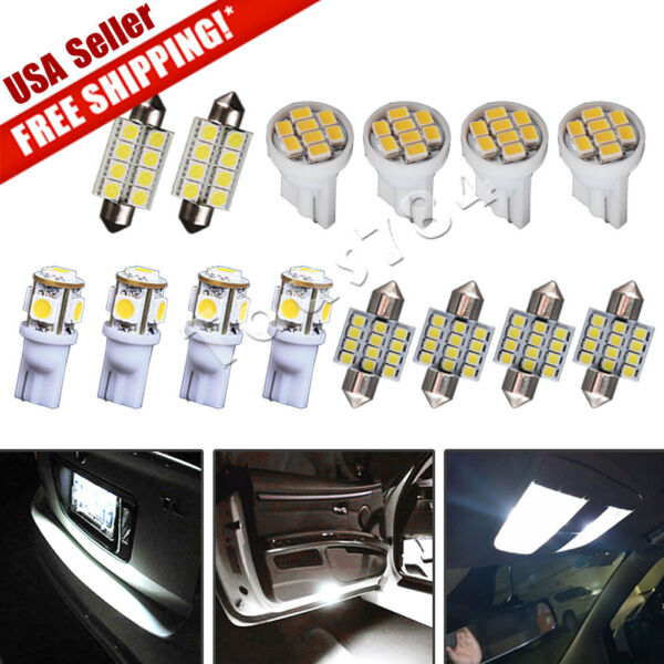 14X White LED Interior Package Kit Deal for T10 194 & 31mm Map Dome Lights Bulb