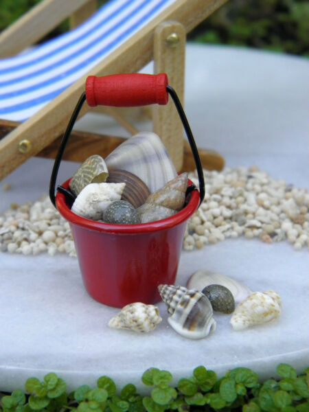 Miniature Dollhouse FAIRY GARDEN Accessories ~ Red Metal Pail with Seashells