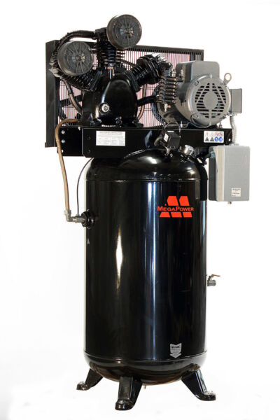 Baldor 7.5 HP Single Phase Motor 80 gal Vertical Air Compressor w Two Stage Pump