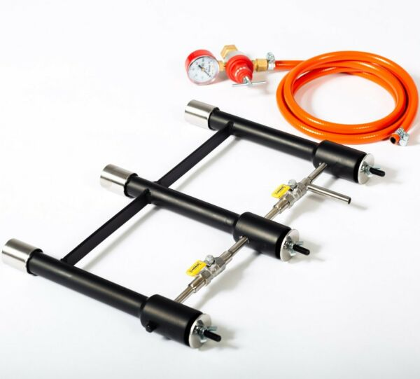 3 CONNECTED DFP GAS BURNERS blacksmiths forge furnace foundry propane farrier