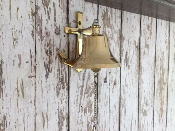 Brass Anchor Ship Bell w Rope Lanyard Pull ~ Nautical Maritime Wall Decor