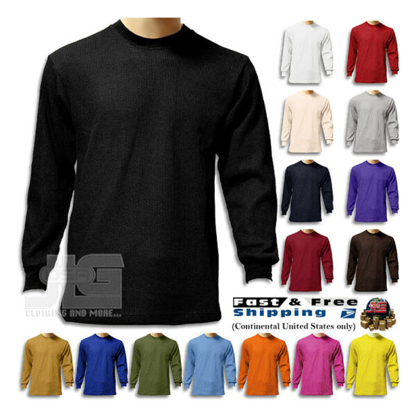 Men Heavy Weight Plain Thermal Long Sleeve New Waffle Shirts Solid Colors $16.99