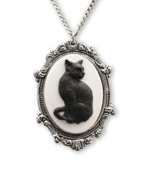 Black Cat Cameo in Antique Silver Pewter Frame Pendant Necklace NK 653