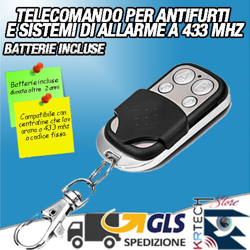 TELECOMANDO SUPPLEMENTARE WIRELESS UNIVERSALE PER ANTIFURTO ALLARME CASA
