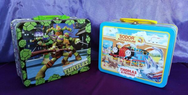 Mutant NinjaTurtles OR Thomas the Tank Engine Cardboard Puzzle in Tin Lunch Pail