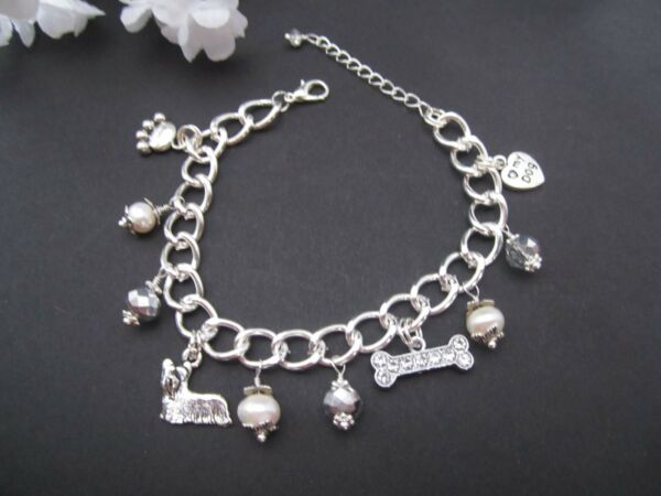 Yorkie Terrier Dog Charm Bracelet with Freshwater Pearls amp; Silver Crystals $19.98