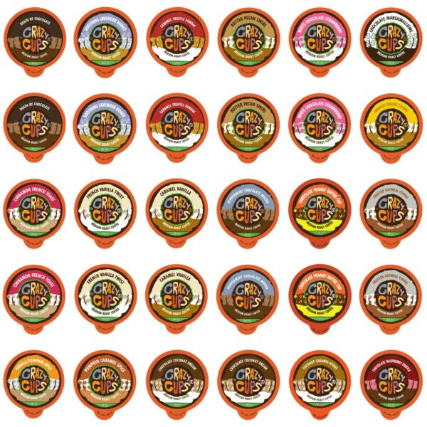 Crazy Cups Decaf Flavored coffee for Keurig K cups variety pack Sampler30 count