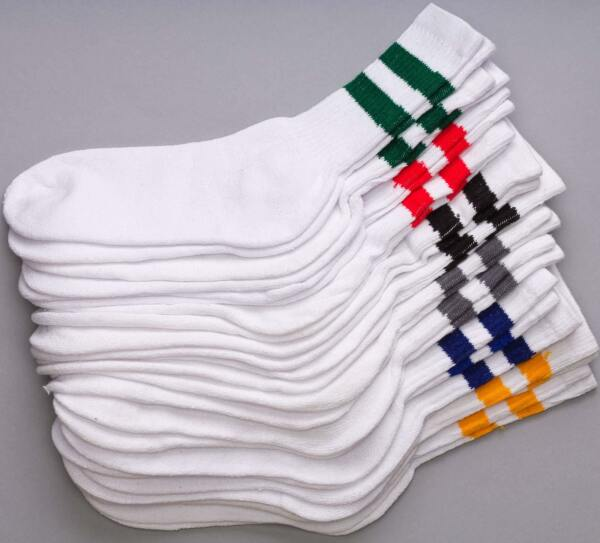 12 Pairs 1 Dozen Old School Striped Crew Socks Retro Athletic Casual Classic