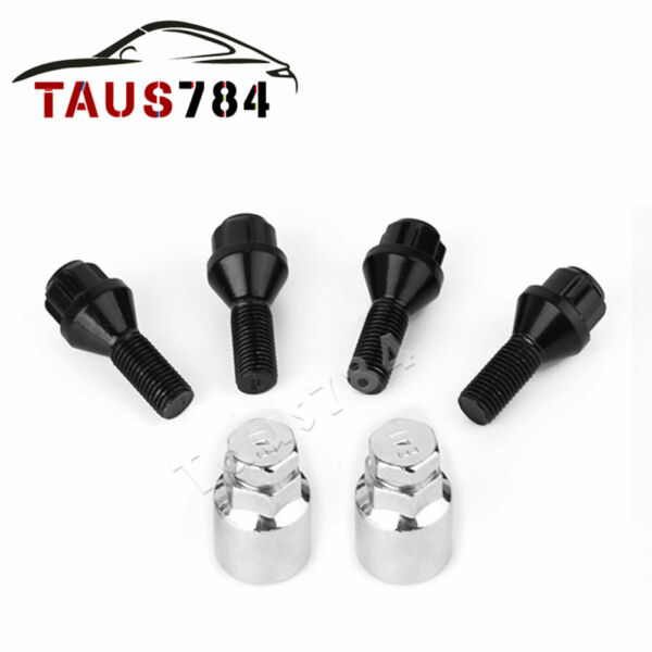 32 Black 14x1.5 Spline Lug Nuts + 2 Keys Anti-theft Locking Wheel 8 Lug Trucks