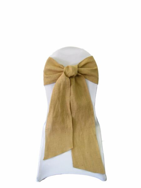 LA Linen Natural Burlap Chair Bow Sashes 7 by 108-Inch in Bulk. Made in USA
