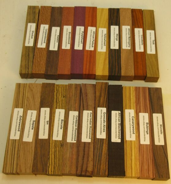 "22 Different Exotic Wood Pen Blanks ¾""x5"" Cocobolo Zebrawood Bocote M 22"