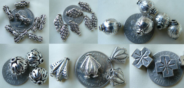 Sterling Silver fancy beads unique shapes well crafted limited supply close outs $13.00