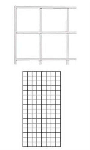 Case of 4 New Retails White Finish Wire Grid Wall Panel 2' x 4'