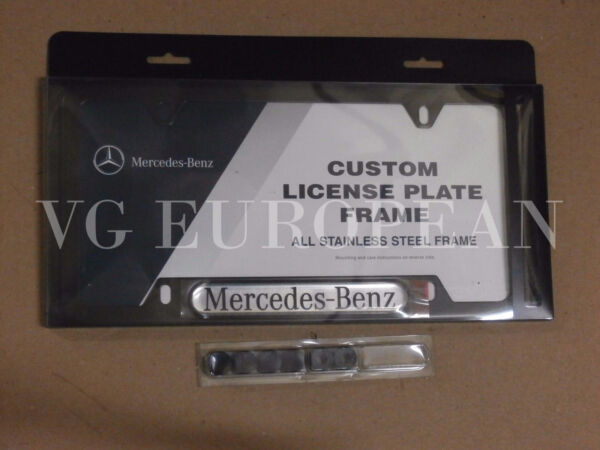 Mercedes Benz Genuine BLACK Stainless Steel License Plate Frame NEW