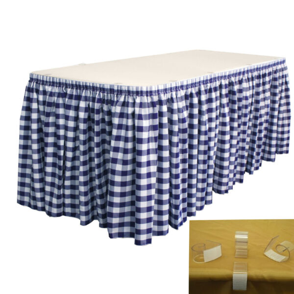LA Linen Checkered Table Skirt 21-Ft L by 29