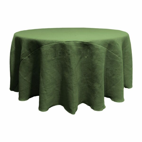 LA Linen Natural Burlap Tablecloth 108-Inch Round. Made in USA
