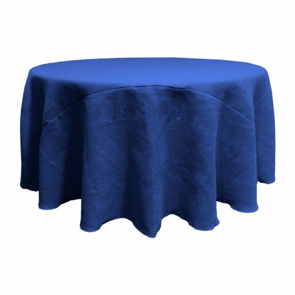 LA Linen Natural Burlap Tablecloth 132-Inch Round. Made in USA
