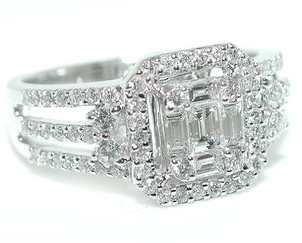 1 CT BRILLIANT Halo Emerald Cut Illusion Triple Split Shank DIAMOND Ring 18WG