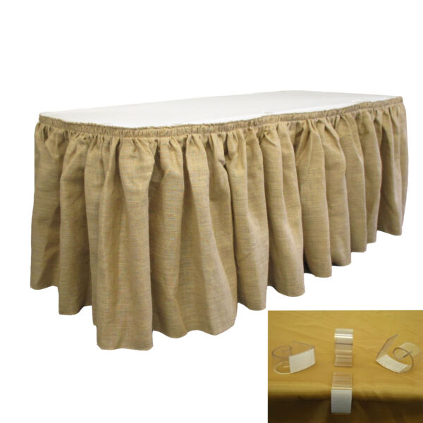 LA Linen Natural Burlap Table Skirt 21 Foot by 29-Inch with 20 L-Clips.