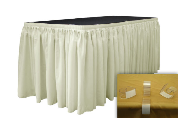 LA Linen Polyester Table Skirt 30-Ft L by 29