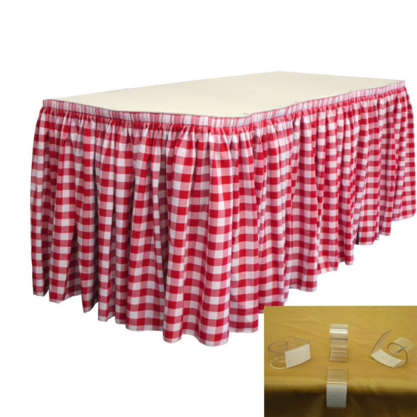 LA Linen Checkered Table Skirt 30-Ft L by 29