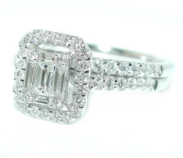 1.25 CT STUNNING Halo Emerald Cut Illusion Ring & Matching Band Set 18K WG