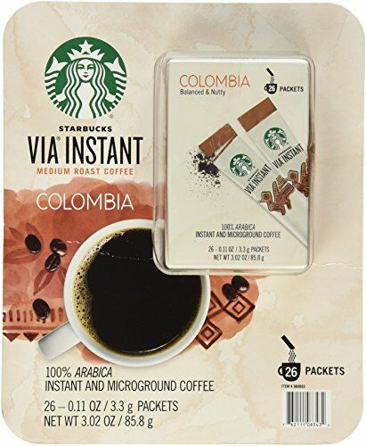 Starbucks Via Instant Medium Roast Colombia Coffee 26 Count New Free Shipping