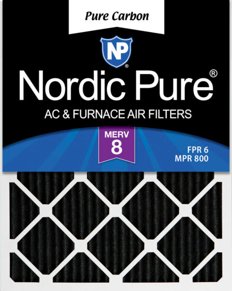 Nordic Pure 16x20x1 Pure Carbon Pleated Odor Reduction Furnace Filters Qty 6