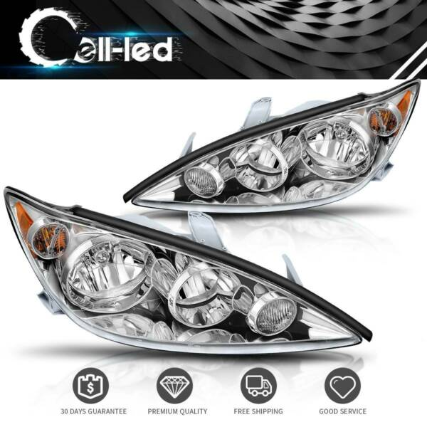 Headlights Assembly Replacement for 2005 2006 Toyota Camry Chrome Headlamps PAIR