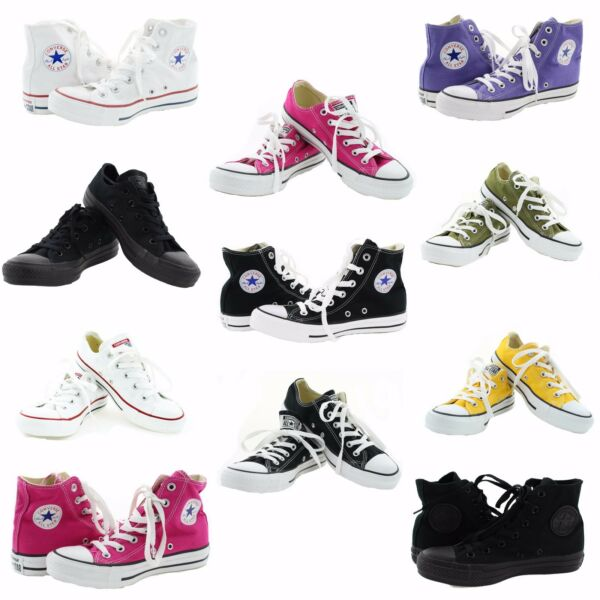 Converse Chucks All Star Chuck Taylor Low High Top Canvas Shoes 3-12