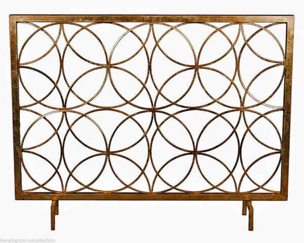 FIREPLACE SCREENS quot;CHATSWORTHquot; DECORATIVE FIRE SCREEN ANTIQUE GOLD CIRCLES