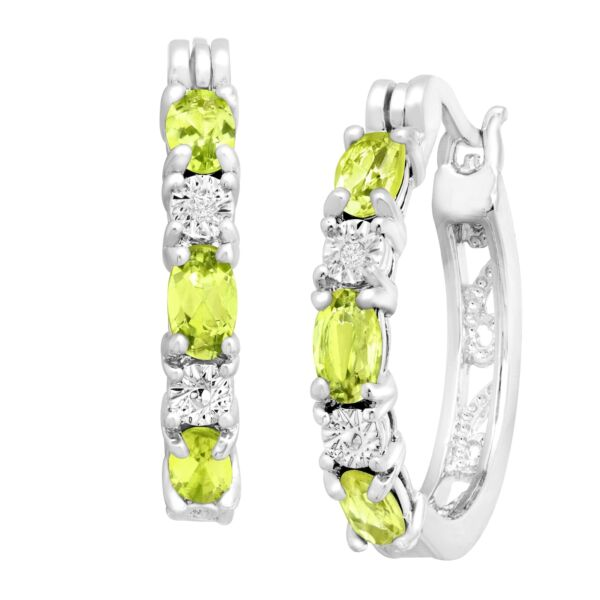 1 58 ct Natural Peridot Hoop Earrings with Diamonds Platinum over Brass .875