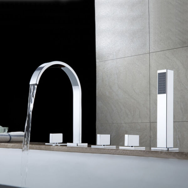 Dree Contemporary Roman Tub Filler with Handshower in Chrome Finished