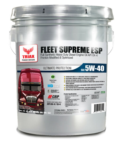 FULL SYNTHETIC 5W-40 TRIAX FLEET SUPREME CK-4 WITH MOLY (5 GALLON PAIL)