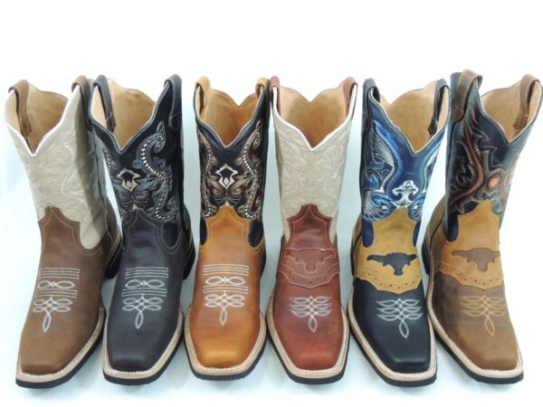 MEN'S RODEO COWBOY BOOTS GENUINE LEATHER WESTERN SQUARE TOE BOTAS SADDLE WORK