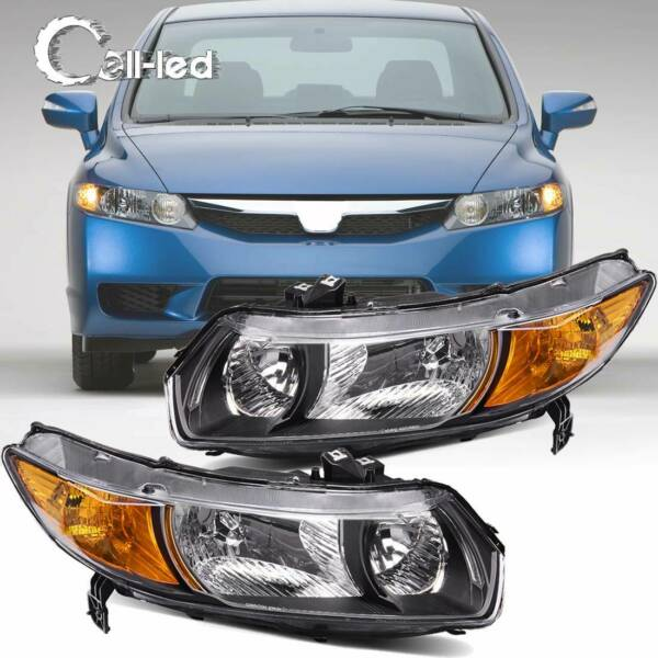 Chrome Headlights Assembly Front Headlamp for 2006-2011 Honda Civic 2 Door Coupe