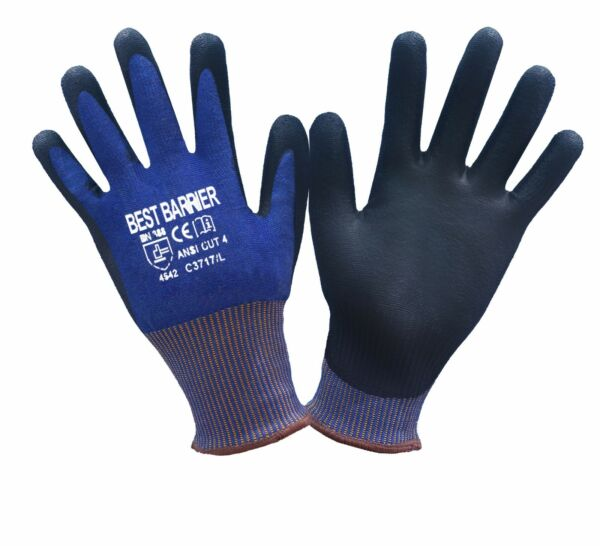 CE CUT RESISTANT LEVEL 5 (ANSI CUT LEVEL 4) BLACK PU PALM COATED GLOVES, 1 PAIR