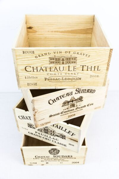 Set of 4 Beautiful Wooden Re-purposed and Re-sized Wine Crates