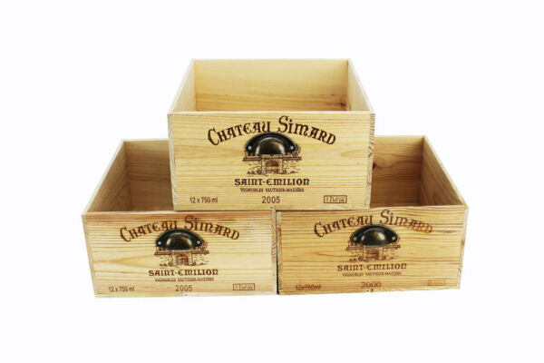 Set of Three 3 Re designed Chateau Simard Wine Crates with Vintage Handles