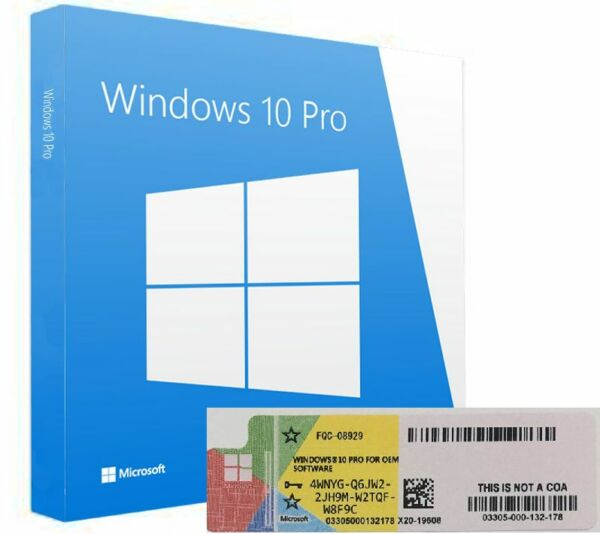 Licenza Windows 10 PRO Professional 32/64 Bit COA Product Key Full STICKER + DVD