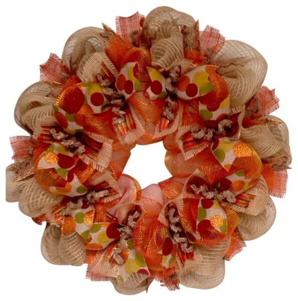 Harvest Ribbon Wreath Premium Handmade Deco Mesh