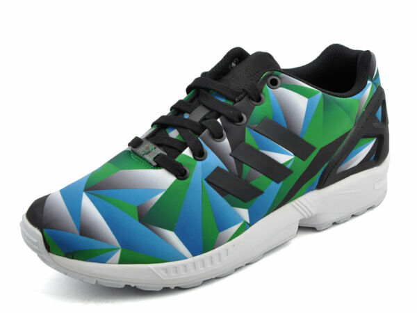 Mens Adidas ZX Flux Classic Sneakers New, Black / Green Prism s81649