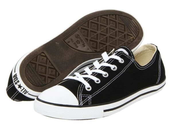 NEW WOMEN CONVERSE CHUCK TAYLOR ALL STAR DAINTY OX BLACK WHITE ORIGINAL