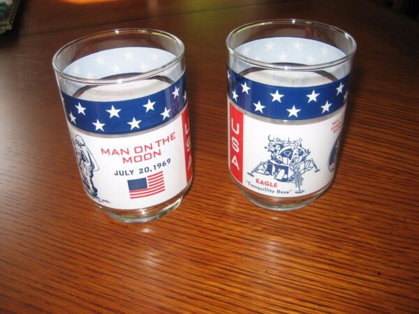 Pair of vintage Apollo 11 glass tumblers Armstrong Aldrin Collins
