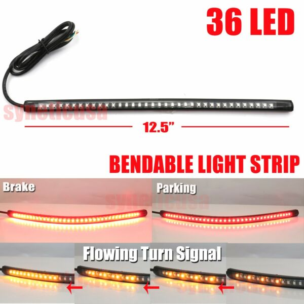 12quot; Bendable Universal Motorcycle LED Light Strip Tail Brake Flowing Turn Signal