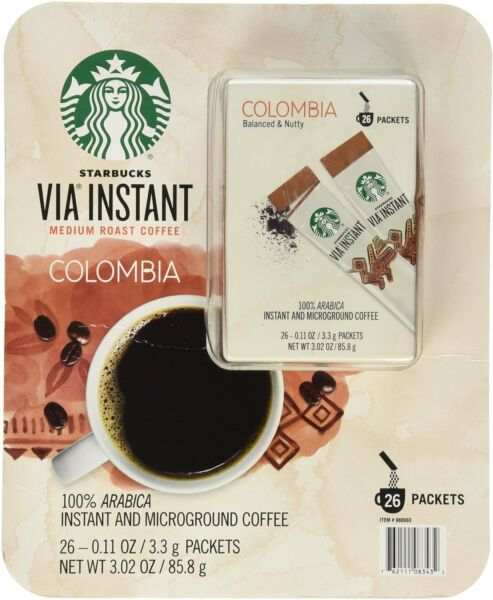 STARBUCKS Via Instant 100% Arabica Medium Roast Colombia Coffee Packets