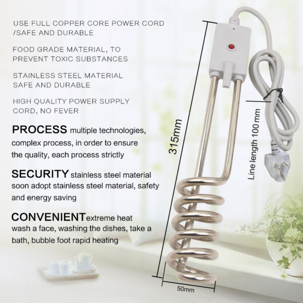 Stainless Travel Hot Water System Electric Immersion Water Heater Portable New