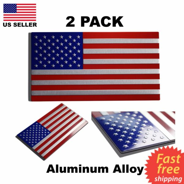 (2 Pack) TWO Aluminum USA American Flag Metal Emblem Sticker Decal Car Auto Bike