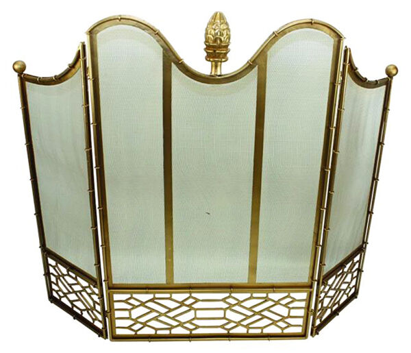 FIREPLACE SCREENS quot;ASCOTT PLACEquot; 3 PANEL FIREPLACE SCREEN WITH WIRE MESH BACK
