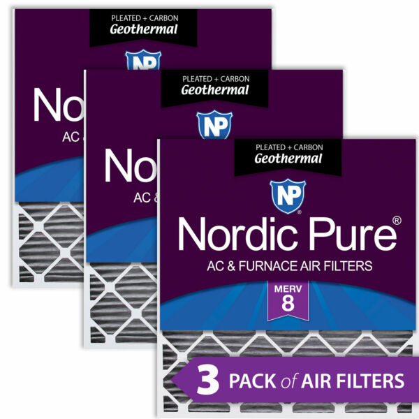 30x32x2 Geothermal MERV 8 Pleated Plus Carbon AC Furnace Filters 3 Pack $84.56